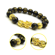 1Pc Feng Shui Black Obsidian Wristband Gold Black Pixiu Bracelet Wealth Good Luck Dragon Glass Jewelry Unisex Amulet Bracelet
