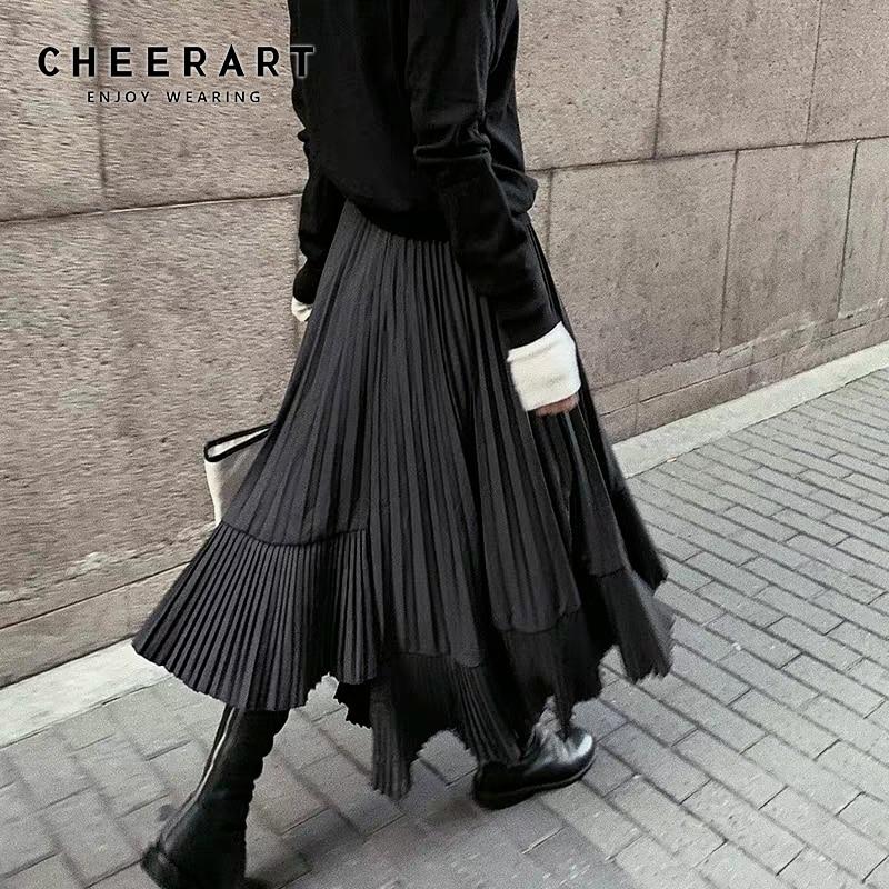 CHEERART gris negro largo plisado falda de las mujeres de alta cintura Irregular falda Swing Frill otoño Midi falda gótica 2019