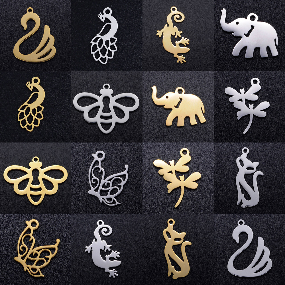 5pcs/lot Animal Cat Kitty DIY Charms Wholesale 100% Stainless Steel Peacock Pendant Butterfly Dragonfly Bee Connectors Charm