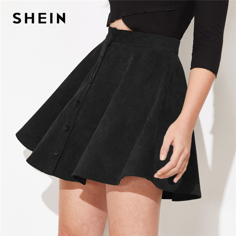 SHEIN Solid Button Front Corduroy Casual Skirt Women Bottoms 2019 Autumn Streetwear High Waist Ladies Basic Short Flared Skirts