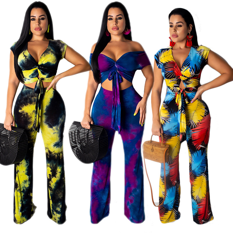 <font><b>Sexy</b></font> Casual Outfits Tracksuit Women V-neck <font><b>Short</b></font> Tops Wide Leg Pants Print Two Piece Set Office Lady <font><b>Ensemble</b></font> <font><b>Femme</b></font> Plus Size image