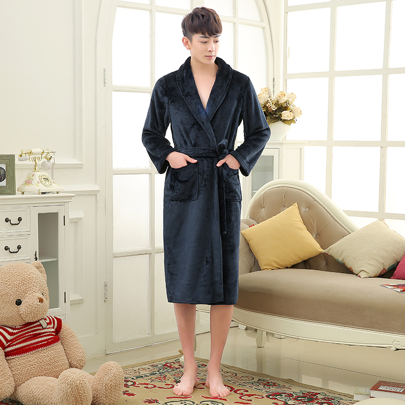 Hot Selling Lovers Classic Silk Soft Long Bathrobe Men Kimono Bath Robe Mens Flannel Warm Dressing Gown Luxury Hotel Coral Robes