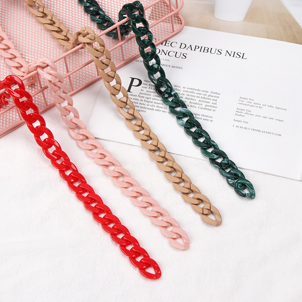 1Pcs DIY Fashion Colorful Shoulder Bag Straps Detachable Acrylic Chain Handle Fish Bone Plastic Strap Bags Accessories For Women