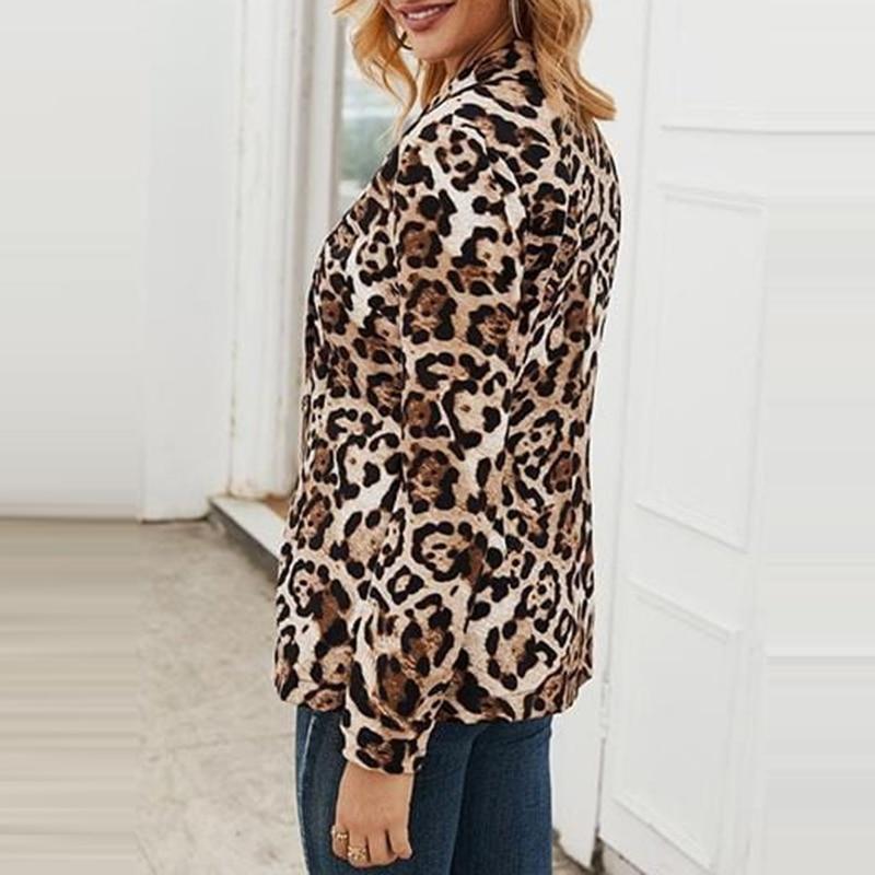 H754ab590e78349ed8abbf8309adce20b6 Fashion Trend Women Lapel Leopard Print Long Sleeves Suit Jacket Elegant Fall Winter Office Lady Cardigan Coat Casual Streetwear