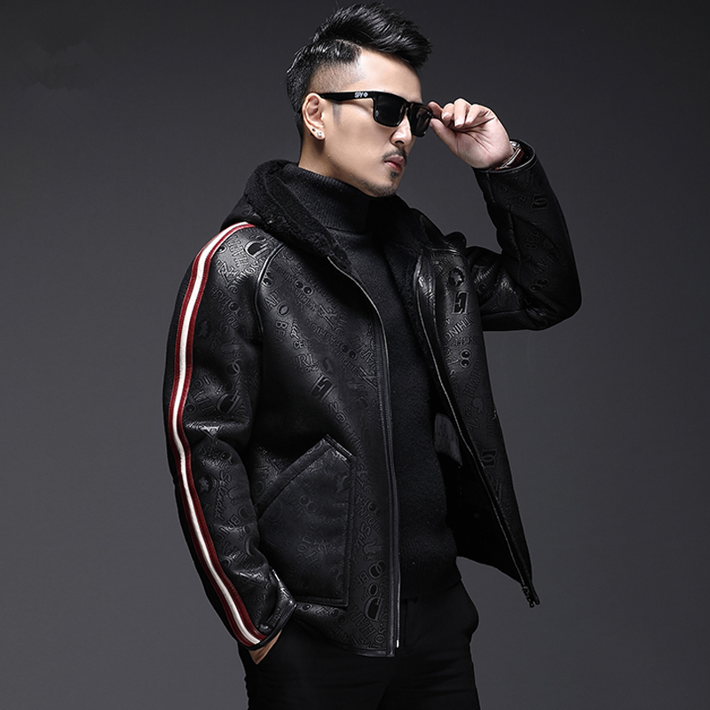Coat Men Shearing Jacket Sheep Motorcycle Winter Male Short One Fur Hooded