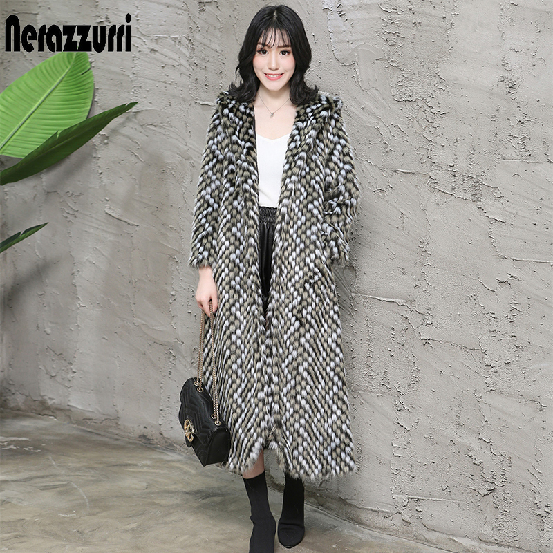 Nerazzurri Color Block Faux Fur Coat Women Long Sleeve Hooded Elegant Plus Size Fake Fur Coat 5xl 6xl Womens Winter Fashion 2019