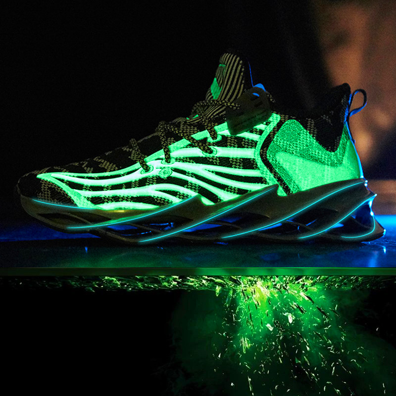 Image 3 - Luminous new color mens sports shoes comfortable breathable flying woven mens casual shoes cushioning non slip running shoesMens Casual Shoes   -