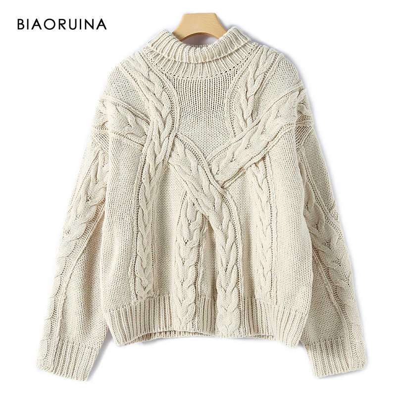 BIAORUINA Women's Thick Needle Winding Knitted Turtleneck Sweater Ladies Vintage Keep Warm Winter Loose Pullover Oversize