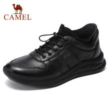 CAMEL New Genuine Leather Men Shoes High Top Casual Leather