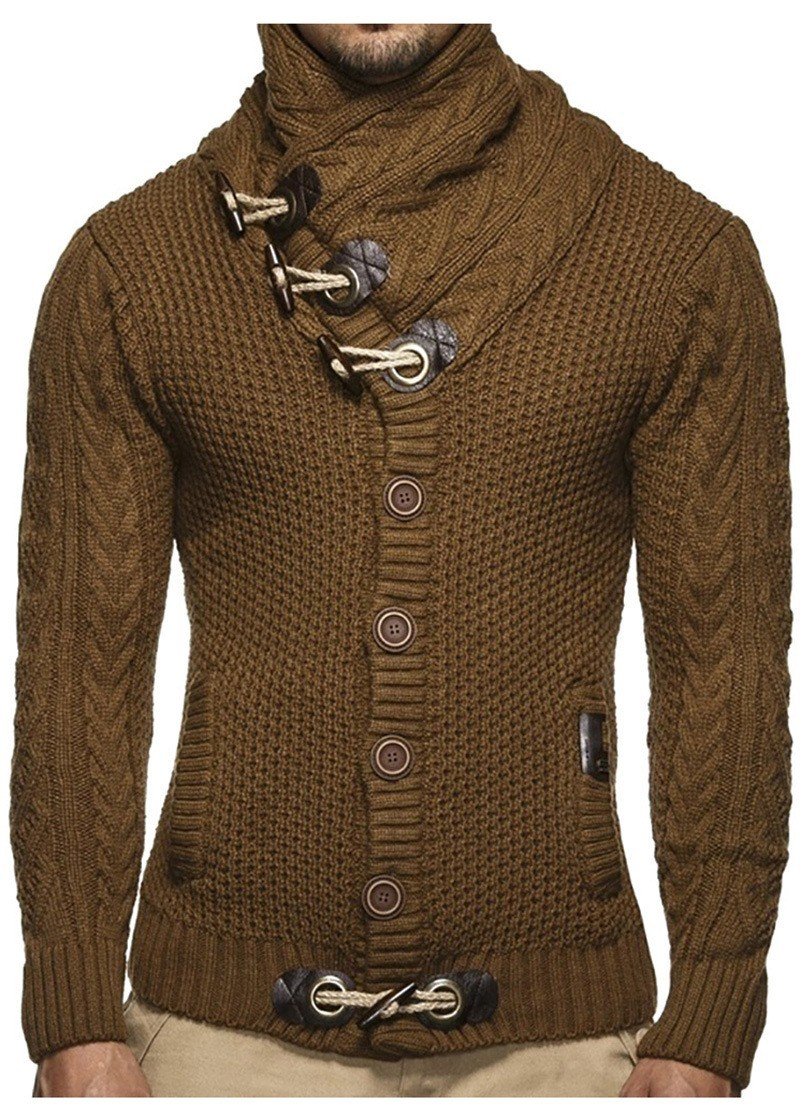 ZOGAA Autumn Winter Men's Sweater Coat Fashion Casual Cardigan Long Sleeve Solid Sweater Coat Knitting Mens Outerwear Sweaters