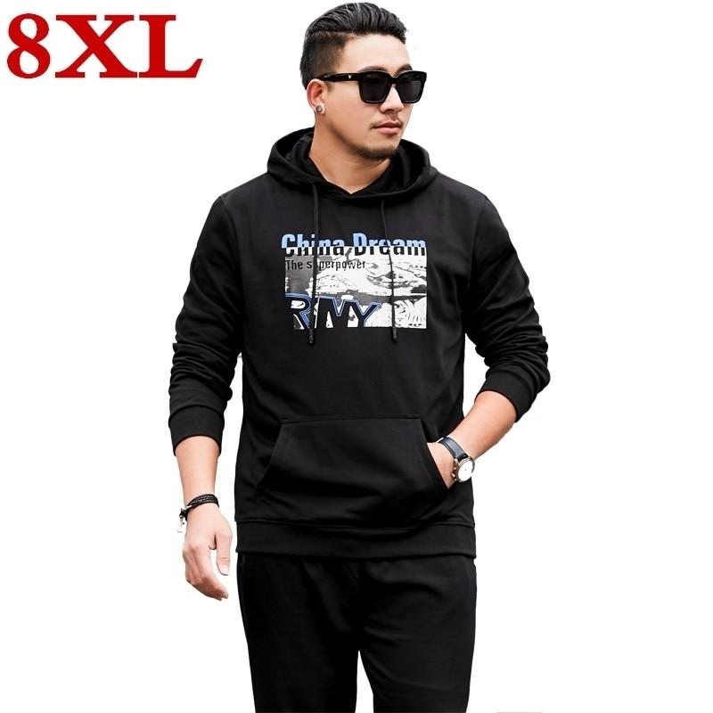 Free Shipping New Plus Size 8XL7XL Brand Tracksuit Fashion Hoodies Men Sportswear Two Piece Sets  Hoody+Pants Sporting Suit Male