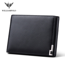 WilliamPOLO England Style High Quality Brand Mens Wallet Leather