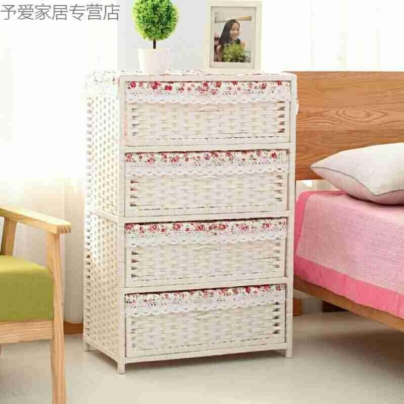 Соломенный тканый шкаф для хранения ящиков, прикроватный столик для сада, модная простая коробка для хранения детской одежды - 2