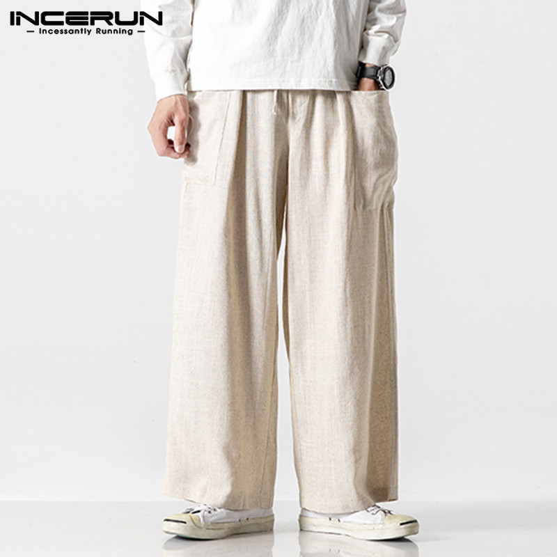 INCERUN Vintage Men Wide Leg Pants Cotton Joggers Pockets Elastic Waist Solid Baggy Trousers Men Streetwear Casual Pants 2020 7