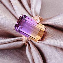 DoreenBeads – bagues en alliage pour femmes, bijoux de mode pour fête de mariage, géométrique rectangulaire, Micro strass dégradé, cristal