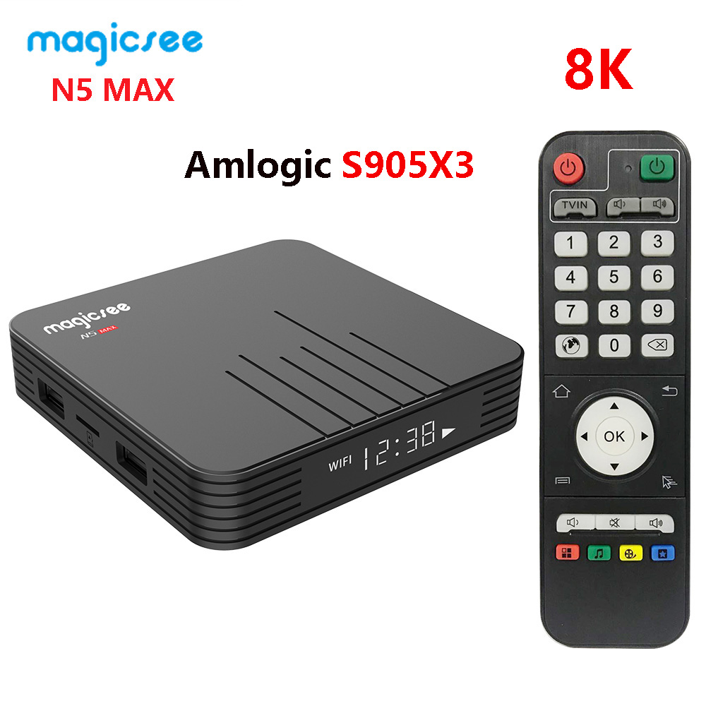 N5 Max Amlogic S905X3 Android 9.0 TV BOX DDR4 4GB RAM 32GB ROM 2.4G+5G Dual Wifi BT4.0 Google Play 8K Media Player Set Top Box