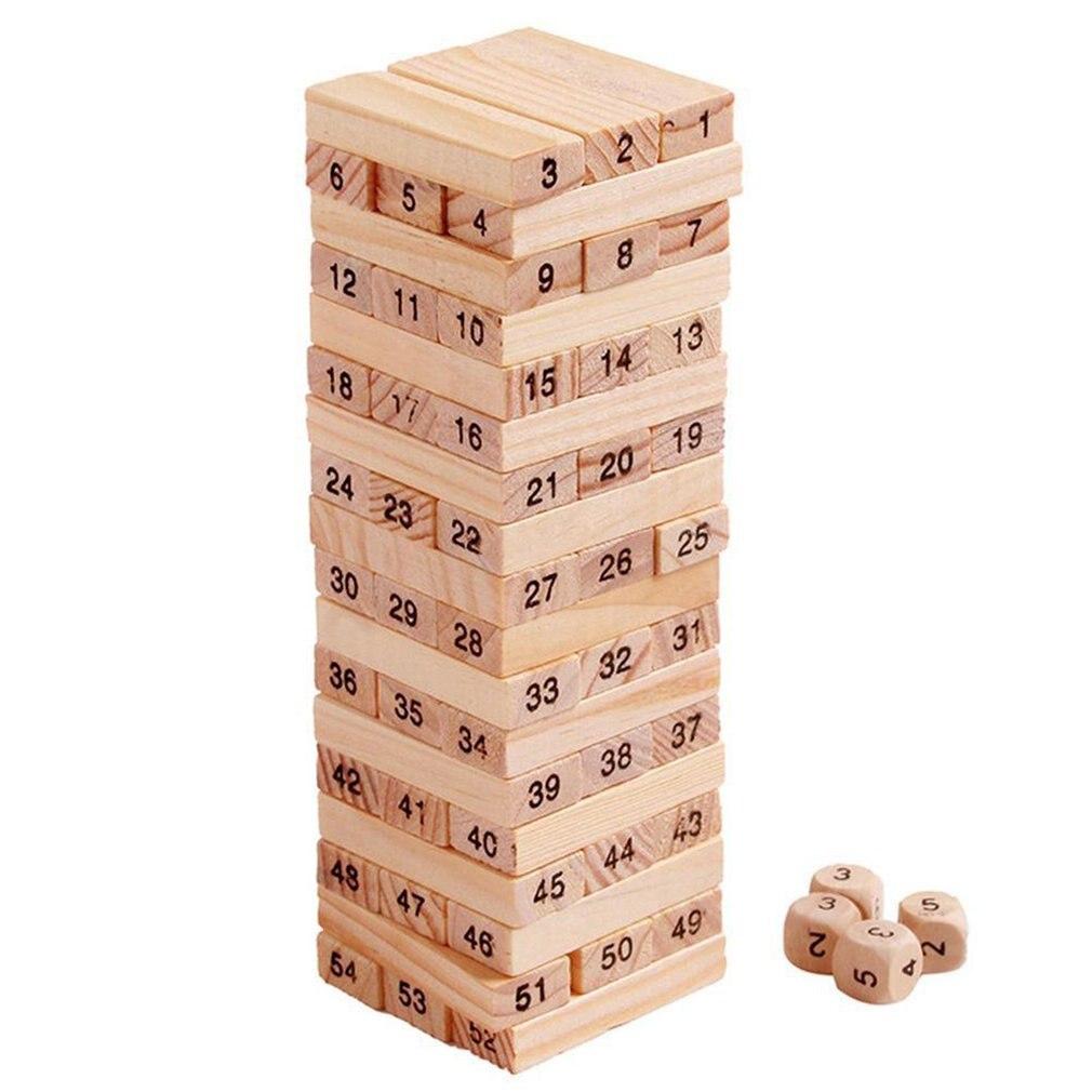 54 штуки Log-цветной цифровой Детские многоярусные строительные блоки Деревянные Башни игра Семья сад игры игрушка