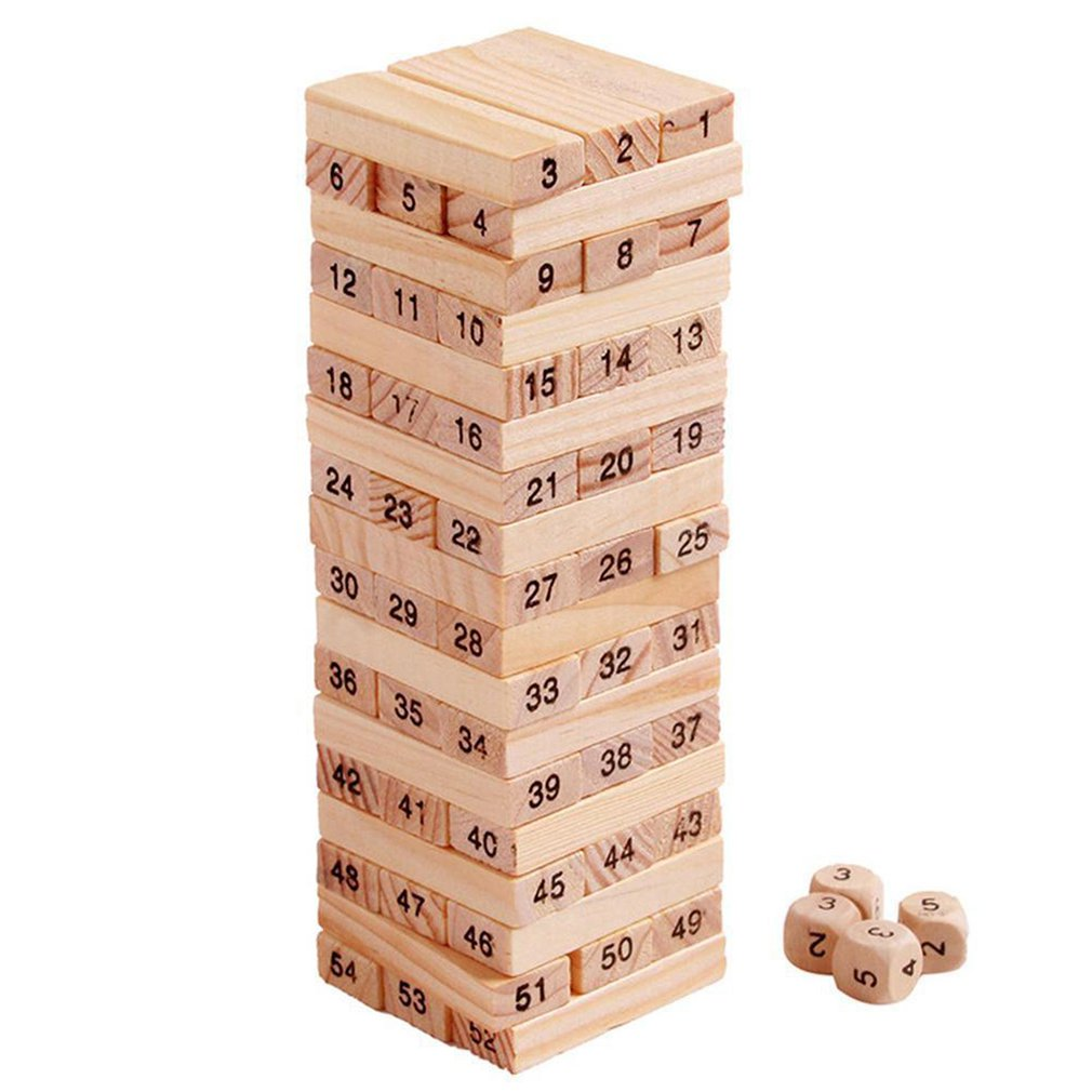 54 Pieces Log-coloured Digital Children's Stacked Building Blocks Wooden Tumbling Tower Game Family Garden Games Toy