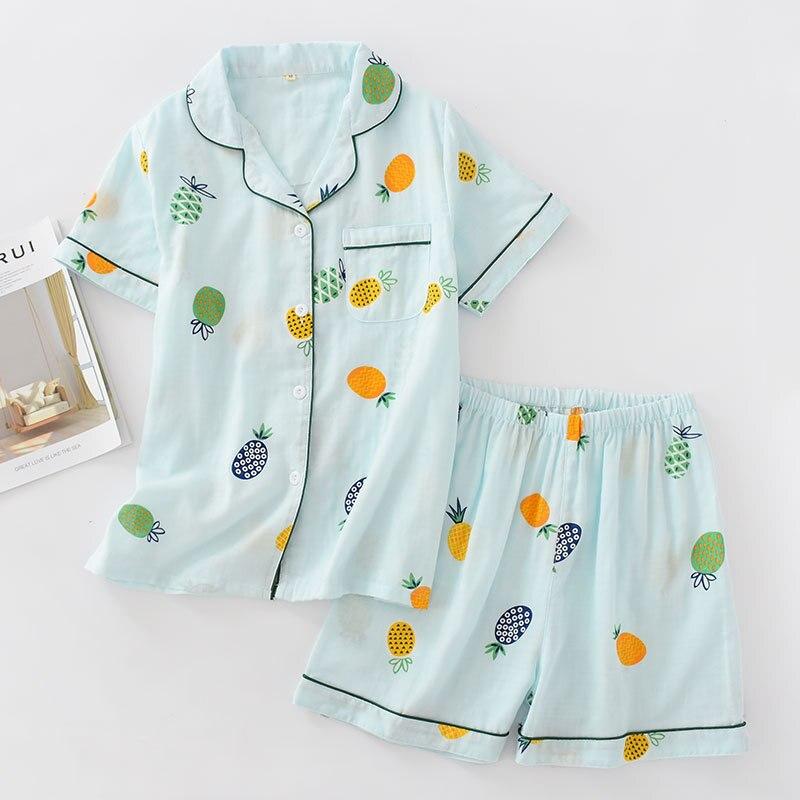 Pyjamas Women 100% Cotton Short Sleeves Ladies Pajama Sets Shorts Cute Cartoon Print Japanese Simple Sleepwear Homewear Pijamas