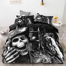 WOSTAR 3D Digital Printing Skull Bedding Sets luxury home textiles king size bedding set Floral Duvet Cover and pillowcase