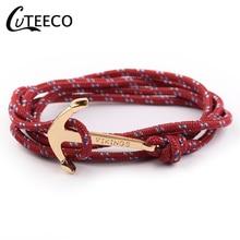 CUTEECO Vintage Charm Anchor Bracelets & Bangles For Men Women Hot Handmade Rope Bangle Gold Color Bracelet