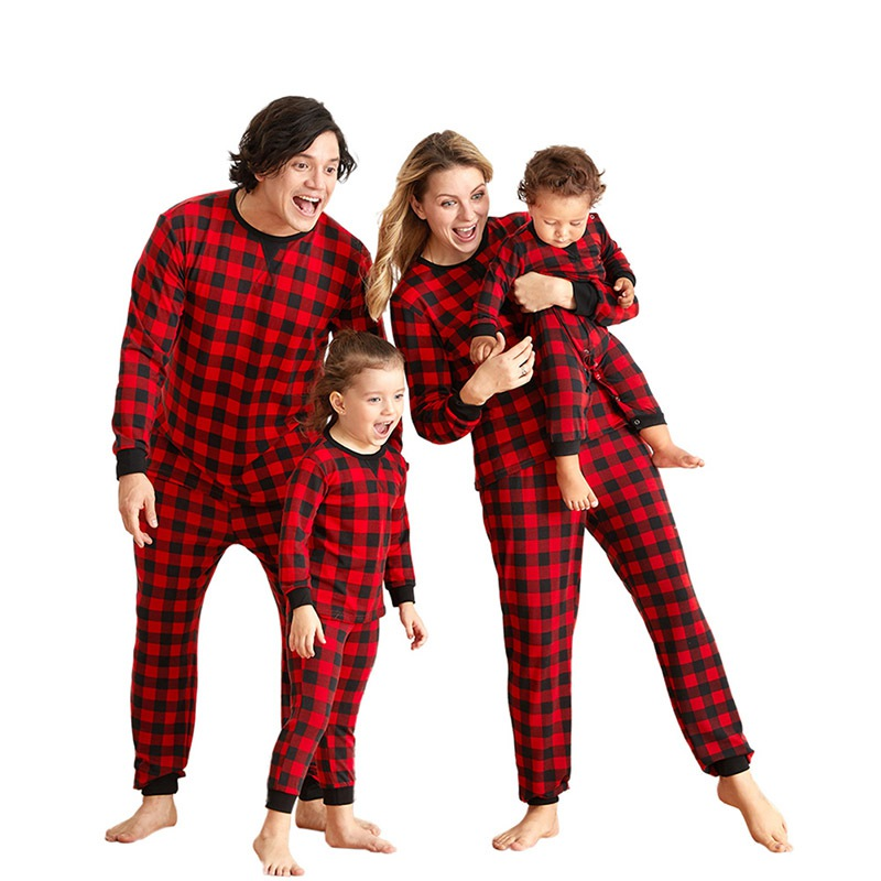 Christmas Matching Family Clothes Homewear Black And Red Plaids Leisure Pajamas For Mom, Dad, Kid, Baby Red