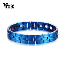 "Vnox Stylish Magnetic Men's Bracelets Blue Color Arthritis Healing Stainless Steel Male Jewelry Wrist Bracelets Homme 8.66""(China)"