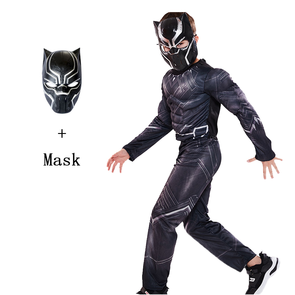 Halloween Superhero Black Muscle Panther Cosplay Kids Child Boy's Costume Jumpsuit Bodysuit Cosplay Costume Outfit Dress Up 2