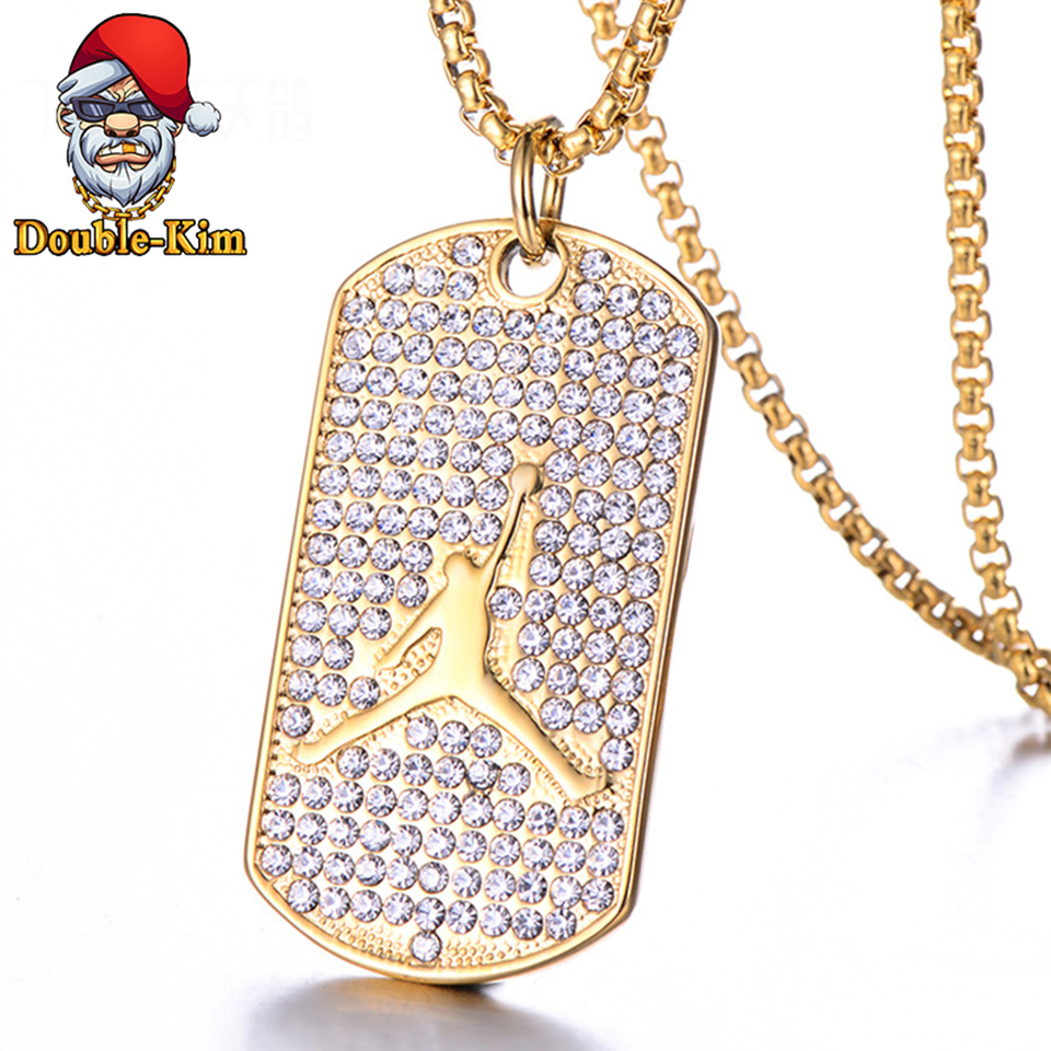 Jordan Basketball Zircon Pendant Necklace Men Hiphop Rock Titanium Stainless Steel Silver Chain Fashion Man Jewelry