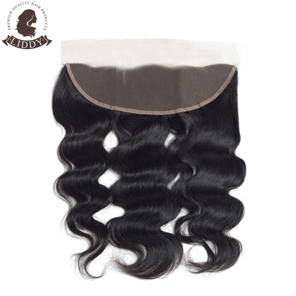 Liddy Lace Frontal Closure Brazilian Body Wave 100% Human Hair 8-20 Inch Free Part13x4 Swiss Lace Non-remy Natural Color