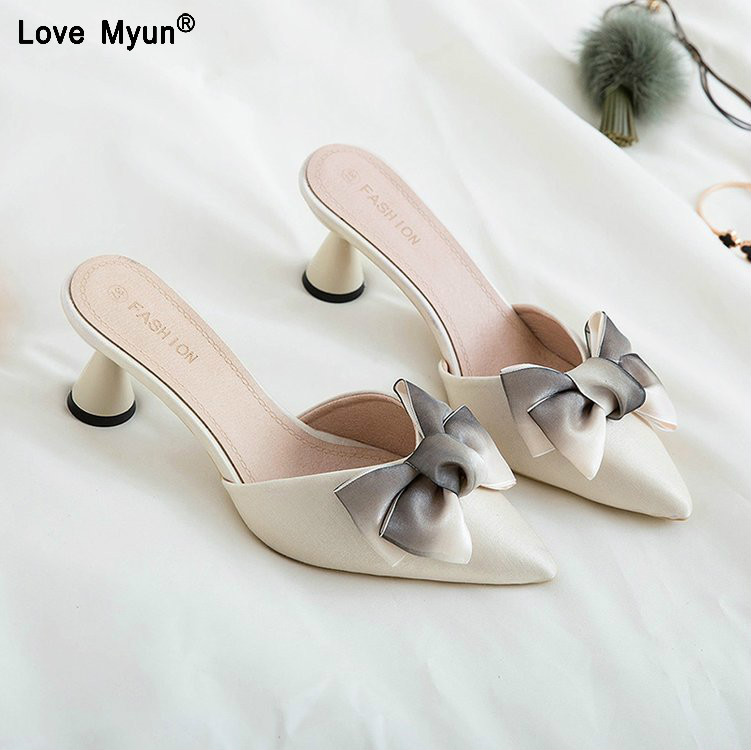 Women Shoes High Heel Velvet Bow Pointed Toe D'Orsay Two-Piece Strange Pearl Heel Stiletto Party Shoes Women Pumps