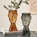 Nordic Creative Face Glass Vase Transparent Vases for Decoration Living Room Decor Flower Vase Table Decoration Accessories Gift