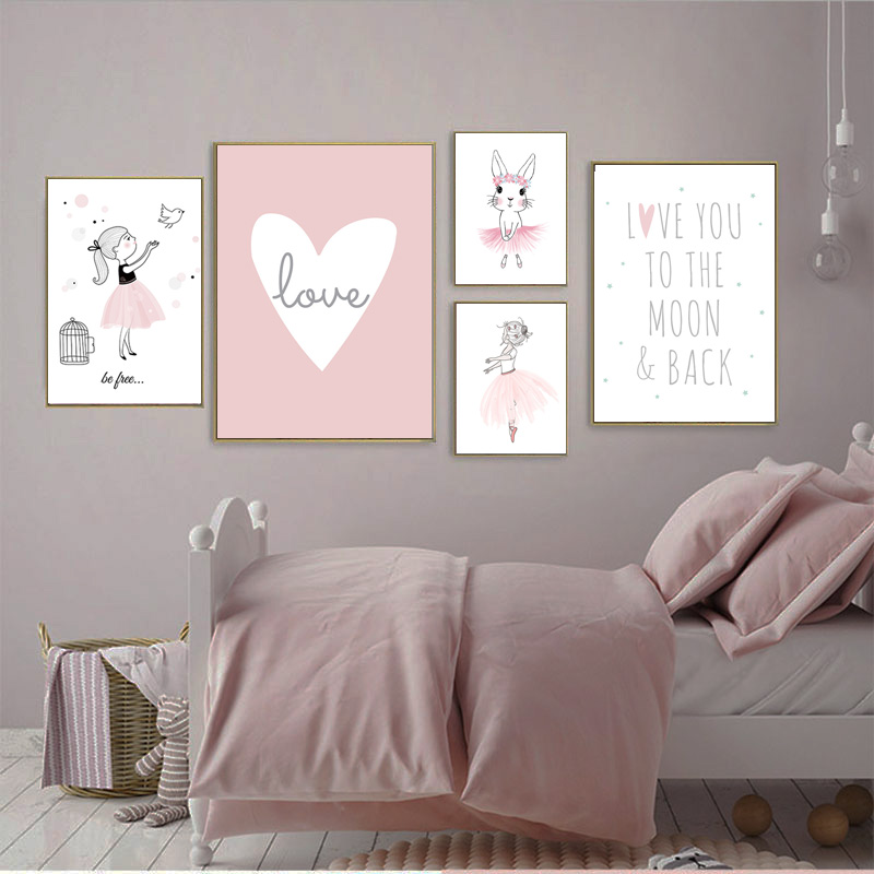 Pink Ballet Girl Canvas Painting Kids Poster Nordic Posters And Prints Custom Name Wall Art Painting Baby Room Decor Pictures