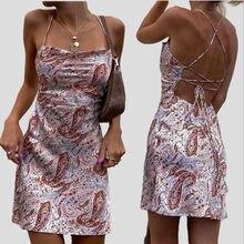 Women Dresses Summer 2021 Sexy Floral Print Dress Sleeveless Backless Mini Dress Wrap Sundress Robe Evening Party