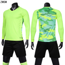 ZMSM Long sleeve Men Soccer Jerseys Kit Survetement Football Training Suit Uniform Double Pocket Shorts Sports Clothes