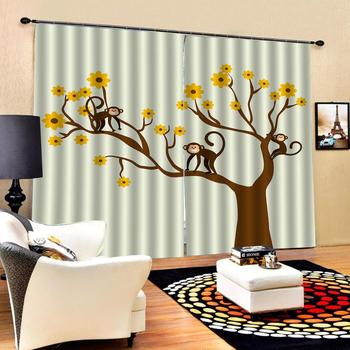 Blackout curtain 3D Window Curtain Luxury Bedroom Drapes cortina Customized size beige curtains draw tree curtains
