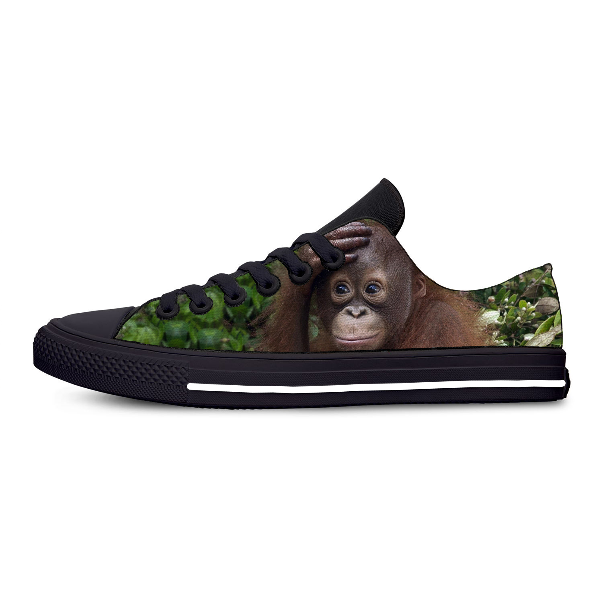 <font><b>3D</b></font> Monkey Animal Hot Funny Humor Fashion Classic Casual Canvas <font><b>Shoes</b></font> Low Top Lightweight Breathable <font><b>3D</b></font> Print Men women Sneakers image