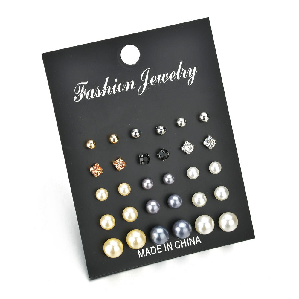 VAGZEB New Earrings Sets Gold Silver Color Small Big Circle Earrings for Women Crystal Simulated Pearl Earrings