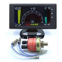 6 em 1 lcd carro digital medidor de pressão óleo tensão temperatura da água tempo temperatura do óleo tacômetro medidor rpm|Tacômetros| |  -