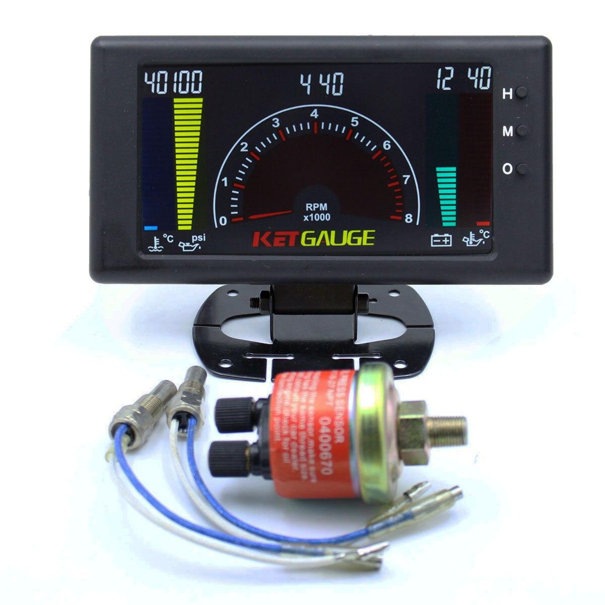 6 en 1 LCD voiture jauge numérique pression d'huile tension température de l'eau température de l'huile temps tachymètre tacometro rpm compteur jauge