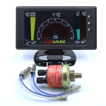 6 in 1 LCD Car Digital Gauge Oil Pressure Voltage Water Temperature Oil Temperature Time Tachometer tacometro rpm meter Gauge