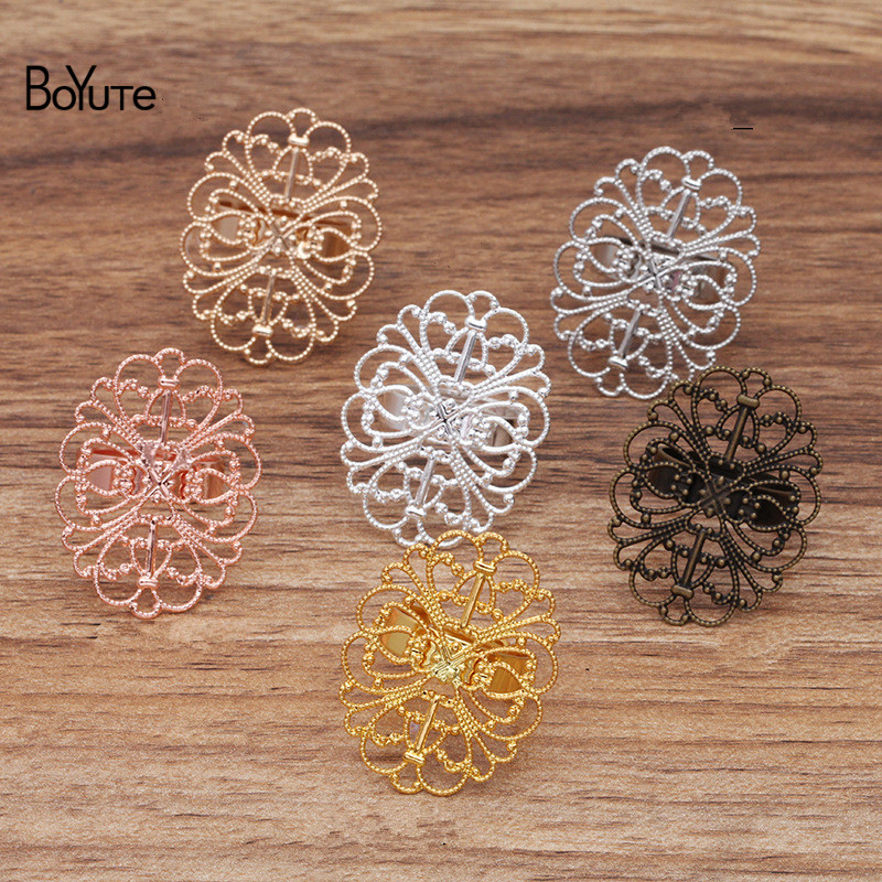 BoYuTe (20 Pieces/Lot) 25*33MM Filigree Flower Ring <font><b>Base</b></font> Metal Brass Diy Handmade Ring <font><b>Settings</b></font> <font><b>Jewelry</b></font> Accessories image