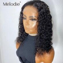 Melodie kręcone peruka z krótkim bobem koronki przodu peruki z ludzkich włosów brazylijski 4x4 zamknięcie głęboka koronkowa fala Frontal peruka dla czarnych kobiet