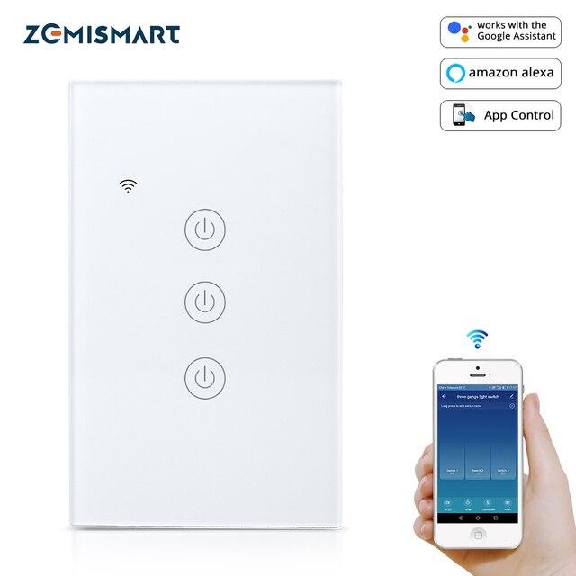 Выключатель света Zemismart US Tuya Wi Fi, 1/2/3 клавиши, 220 В, 240 В