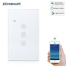 Zemismart eua tuya wifi interruptor de luz neutro optionalwire 1 2 3 gang alexa google assistente casa inteligente controle de vida 220v 240v