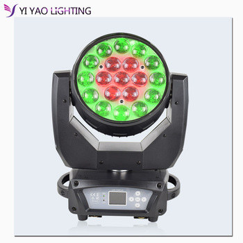 Led Zoom 19x15w Wash Moving Head Light New Moving Stage Lighting RGBW Dj Equipment DMX512 Party effect lights