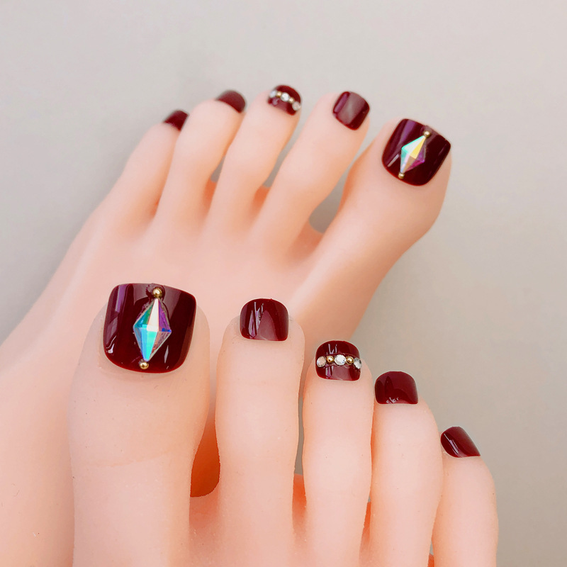 Toenail Patch Nail Stickers Waterproof Toenails Long-lasting Drill Nail Tip Wearable Disassembly South Korea Fake Nails Finished