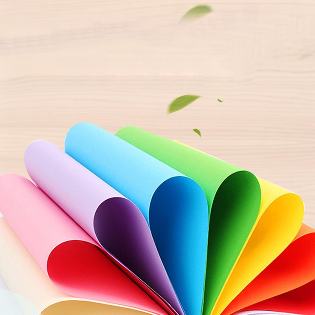 100pcs/lot A4 Colorful Printing Paper 70g Children Craft Paper Cardboard Handmade Paperboard DIY Origami Thick W7B3