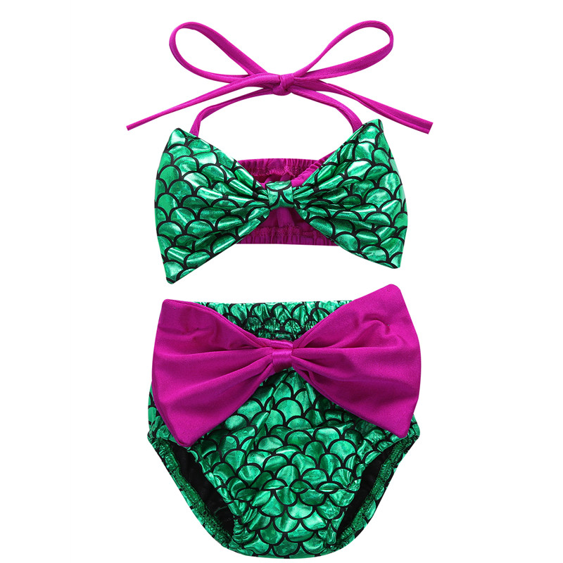 2019 2pcs Kids Baby Girls Bikini Set Mermaid Swimsuit Summer Bathing Suit Swimwear Halter Tankini 0-24M Fit