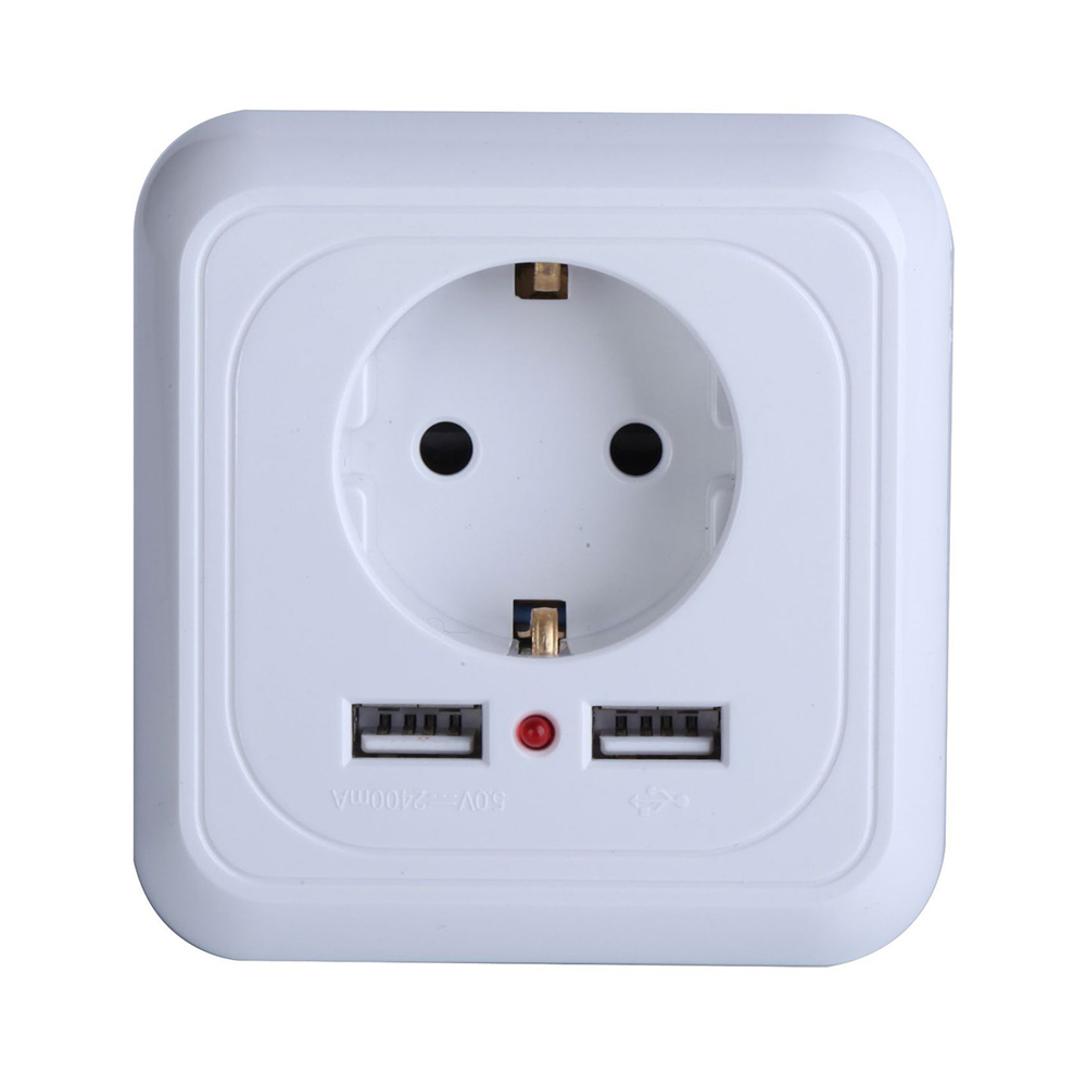 Smart Home Best Dual USB Port 2400mA Wall Charger Adapter <font><b>16A</b></font> EU Standard Electrical Plug Socket Power Outlet Panel 110~<font><b>250</b></font> <font><b>V</b></font> image